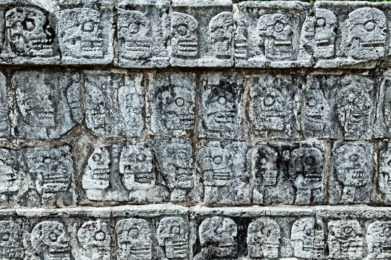 Tzompantli - Wall of Skulls, Chichen Itza, Mexico