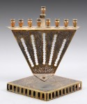 Brass menorah set with silver and copper