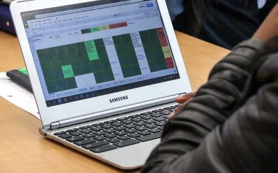 Photo closeup of laptop screen showing mastery data dashboard
