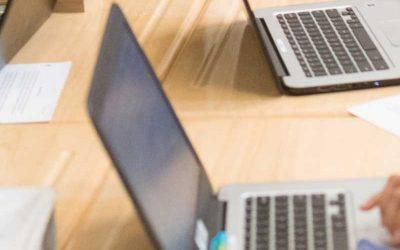 Photo closeup of two laptops