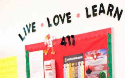 Photo of poster of Lifelong Learning Standards including Live, Love, Learn