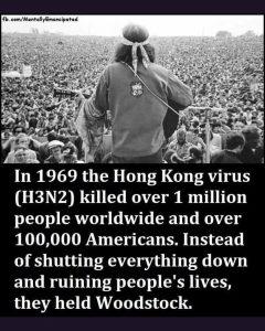 The Hong Kong 1969 virus killed 100,000 Americans, No lockdown instead Woodstock