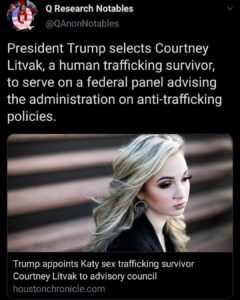 President Trump selects Courtney Litvak, a human trafficking survivor, to serve on a federal panel advising the administration on anti-trafficking policies