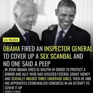 OBAMA FIRED AN INSPECTOR GENERAL TO COVER UP A SEX SCANDAL AND NO ONE SAID A PEEP