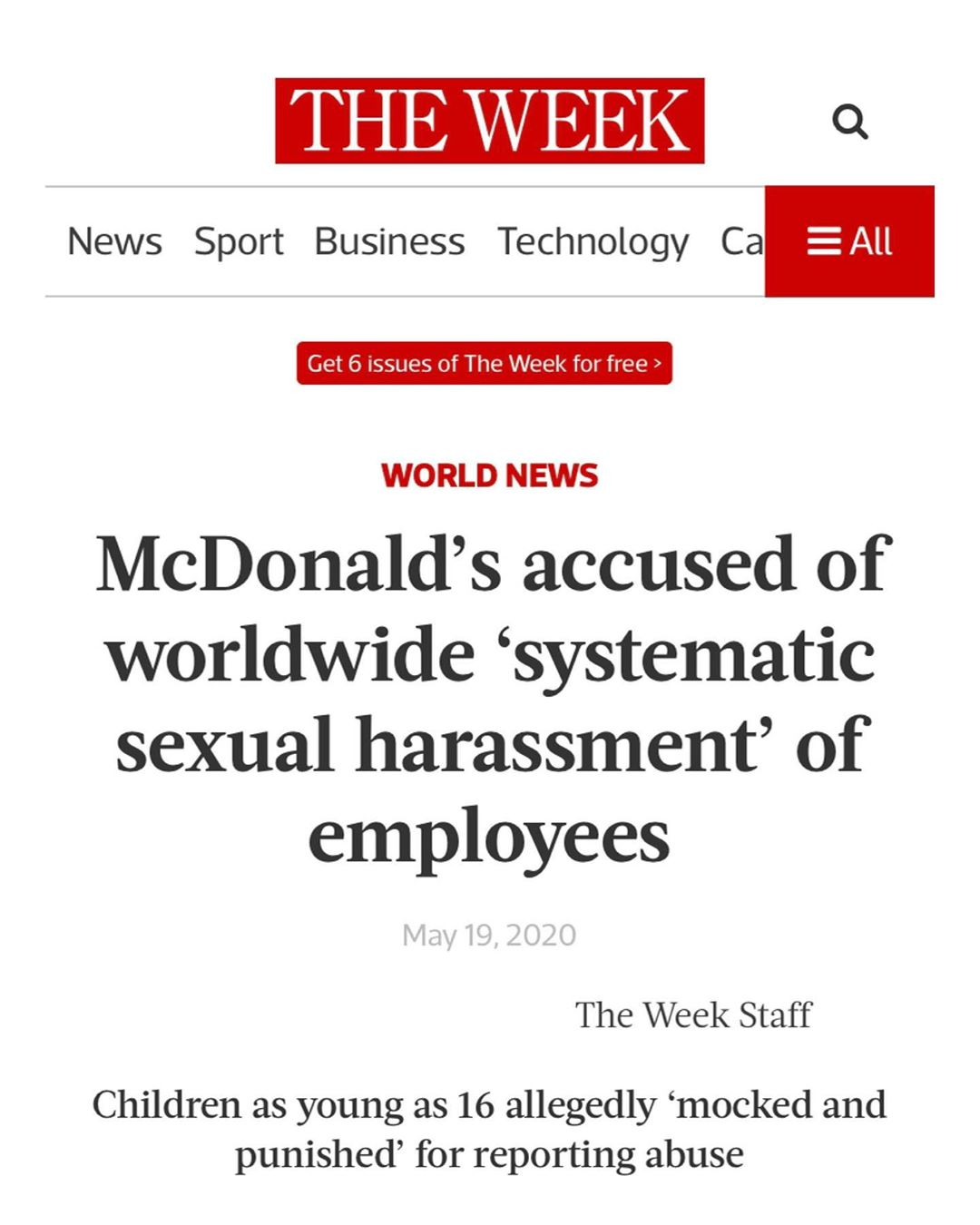 McDonald's accused of worldwide 'systematic sexual harassment' of employees