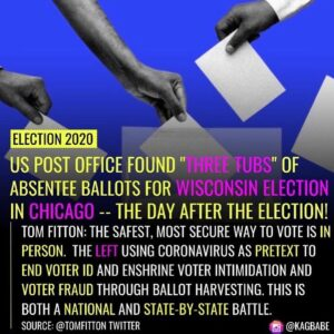 """Accountability under the law for all! . • US POST OFFICE FOUND """"IHREE TUBS"""" OF ABSENTEE BALLOTS FOR WISCONSIN ELECTION I…"""