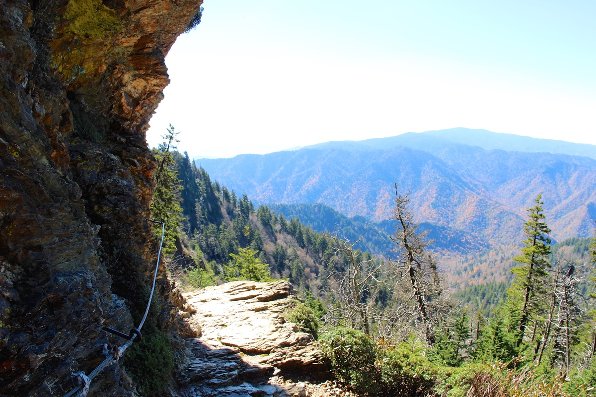 Hiking the Alum Cave Bluff Trail in Great Smoky Mountains National Park.