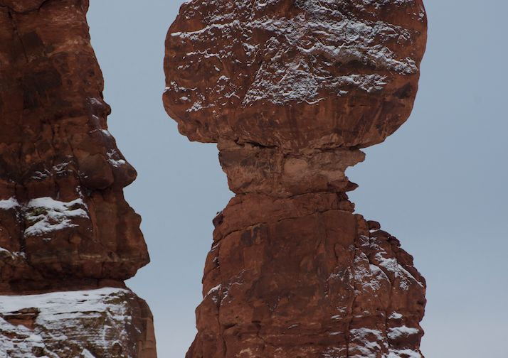 Balanced Rock on a winter day in Arches National Park.