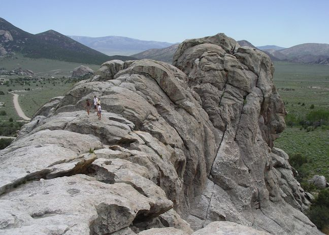Top of Bath Rock in City of Rocks National Reserve near Twin Falls Idaho.