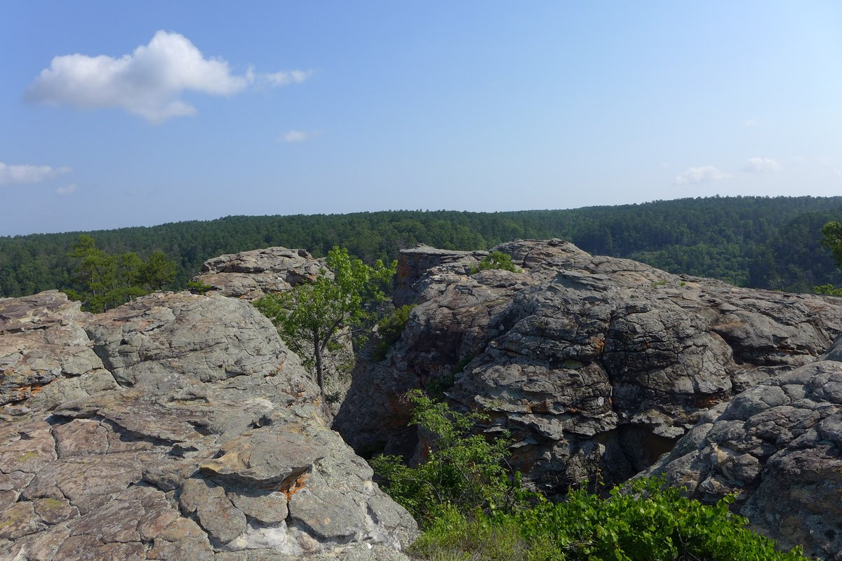Hiking to Bear Cave in Petit Jean State Park in Arkansa.