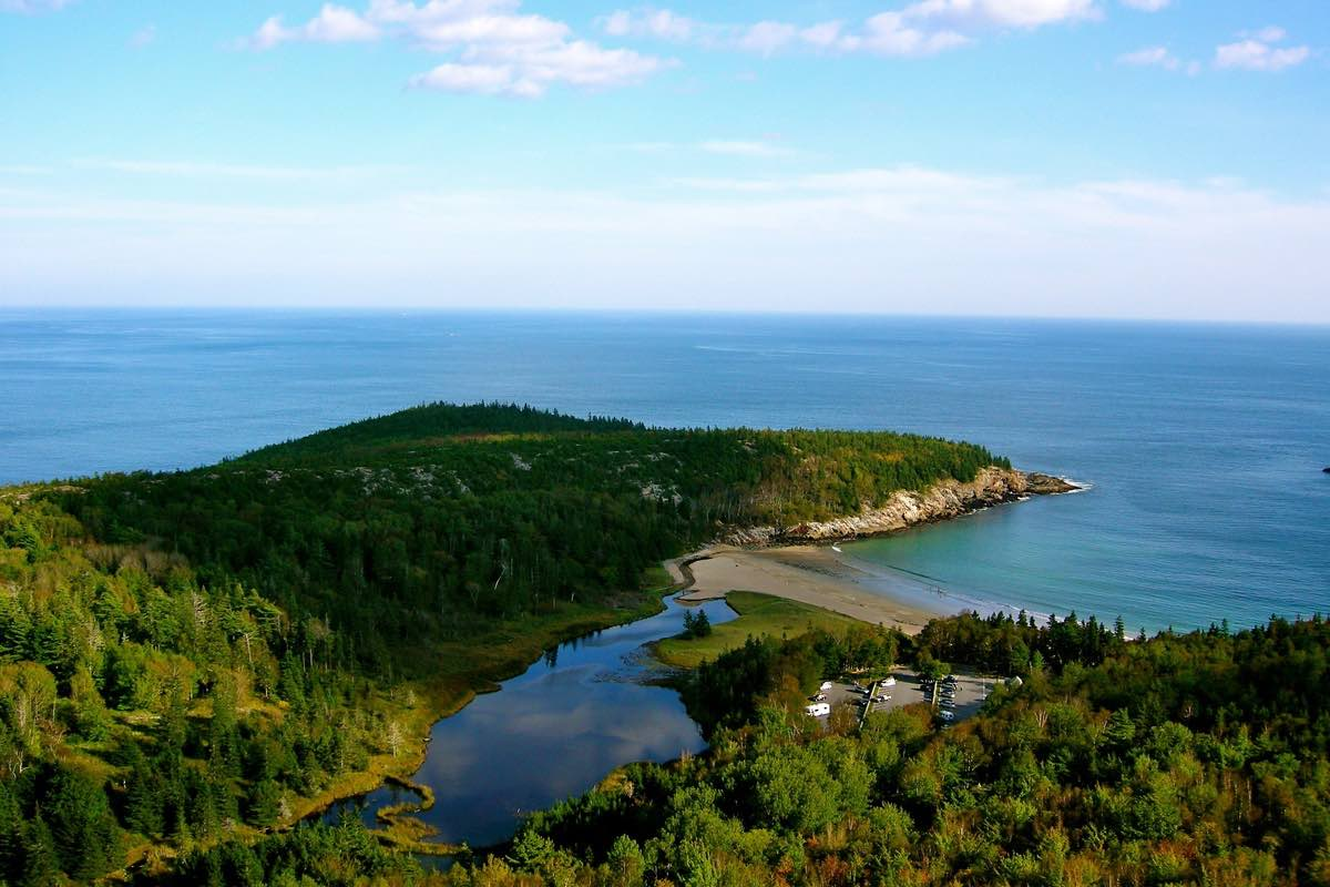 Hiking the Beehive Trail in Acadia National Park.