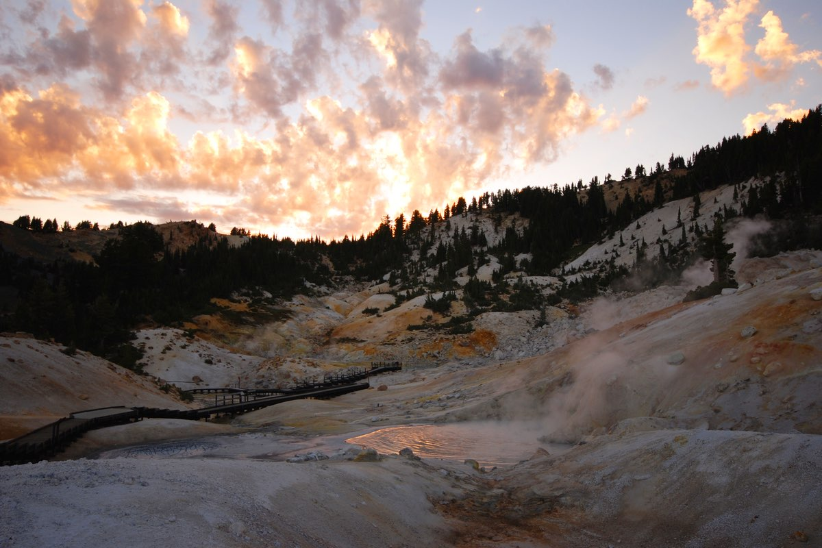 Sunset in Bumpass Hell in Lassen Volcanic National Park.