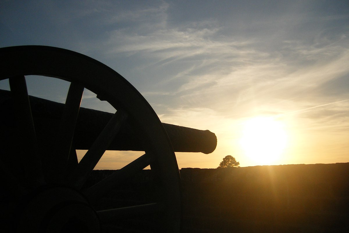 Cannon at sunrise at Fort Pulaski National Monument.