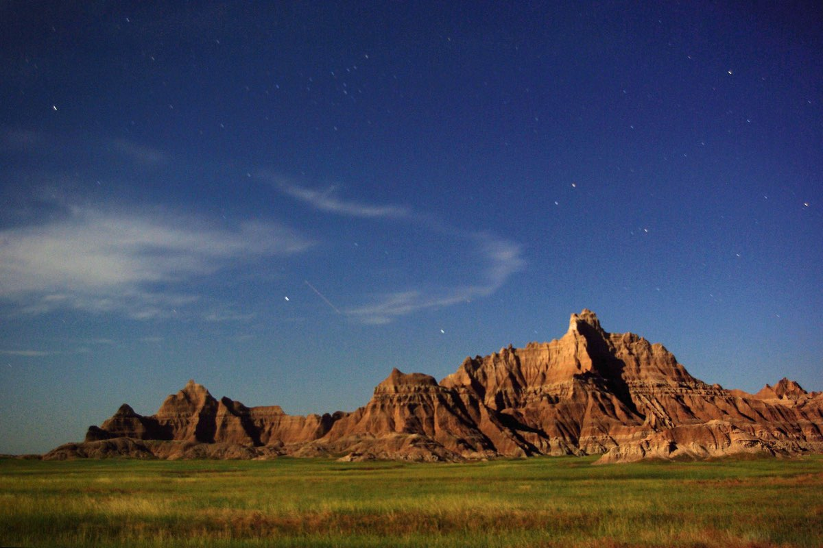 Cedar Pass and stars in Badlands National Park.