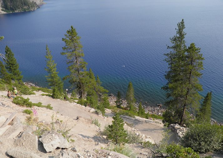 Hiking along the Cleetwood Cove Trail in Crater Lake National Park.