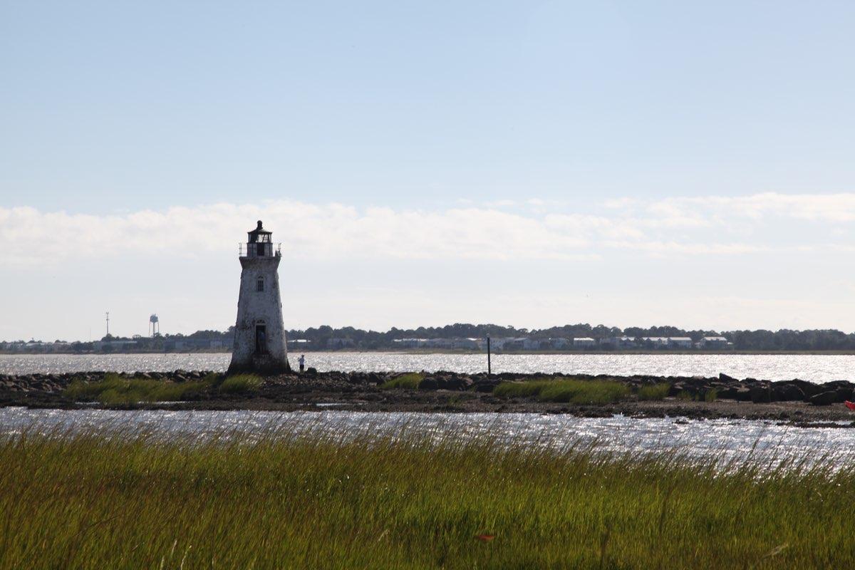 Cockspur Lighthouse in Fort Pulaski National Monument.