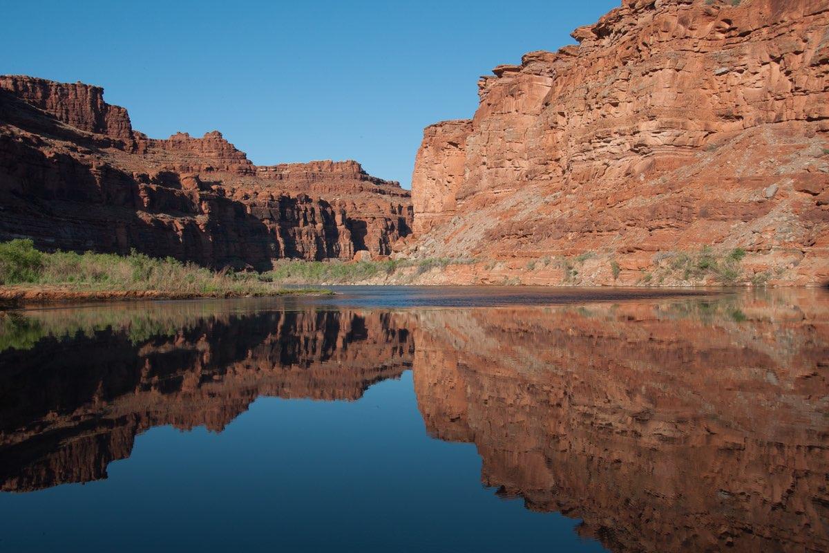 Colorado River reflection in Canyonlands National Park.