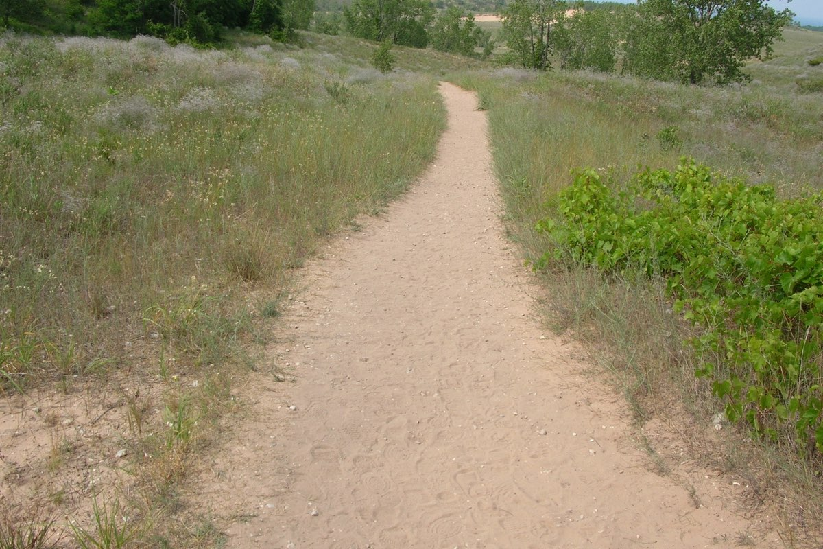 Hiking the Cottonwood Trail in Sleeping Bear Dunes National Lakeshore.