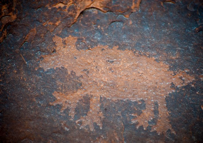 Rock art along the Courthouse Wash Trail in Arches National Park.