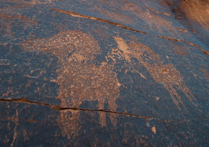 Amazing rock art along the Courthouse Wash Trail in Arches National Park.