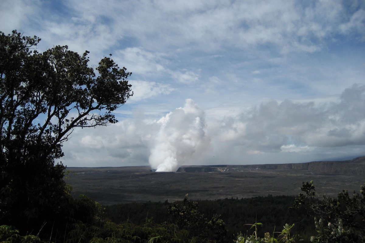 Hiking the Crater Rim Trail in Hawaii Volcanoes National Park.