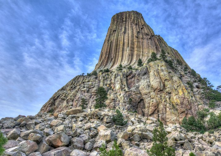 Looking up at Devil's Tower in Wyoming.