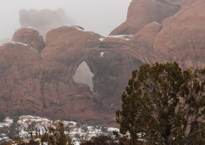 Winter time at Double Arch in Arches National Park.