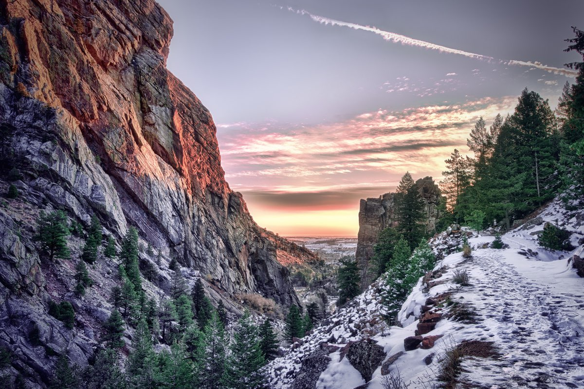 Beautiful sunrise in Eldorado Canyon State Park near Boulder Colorado.