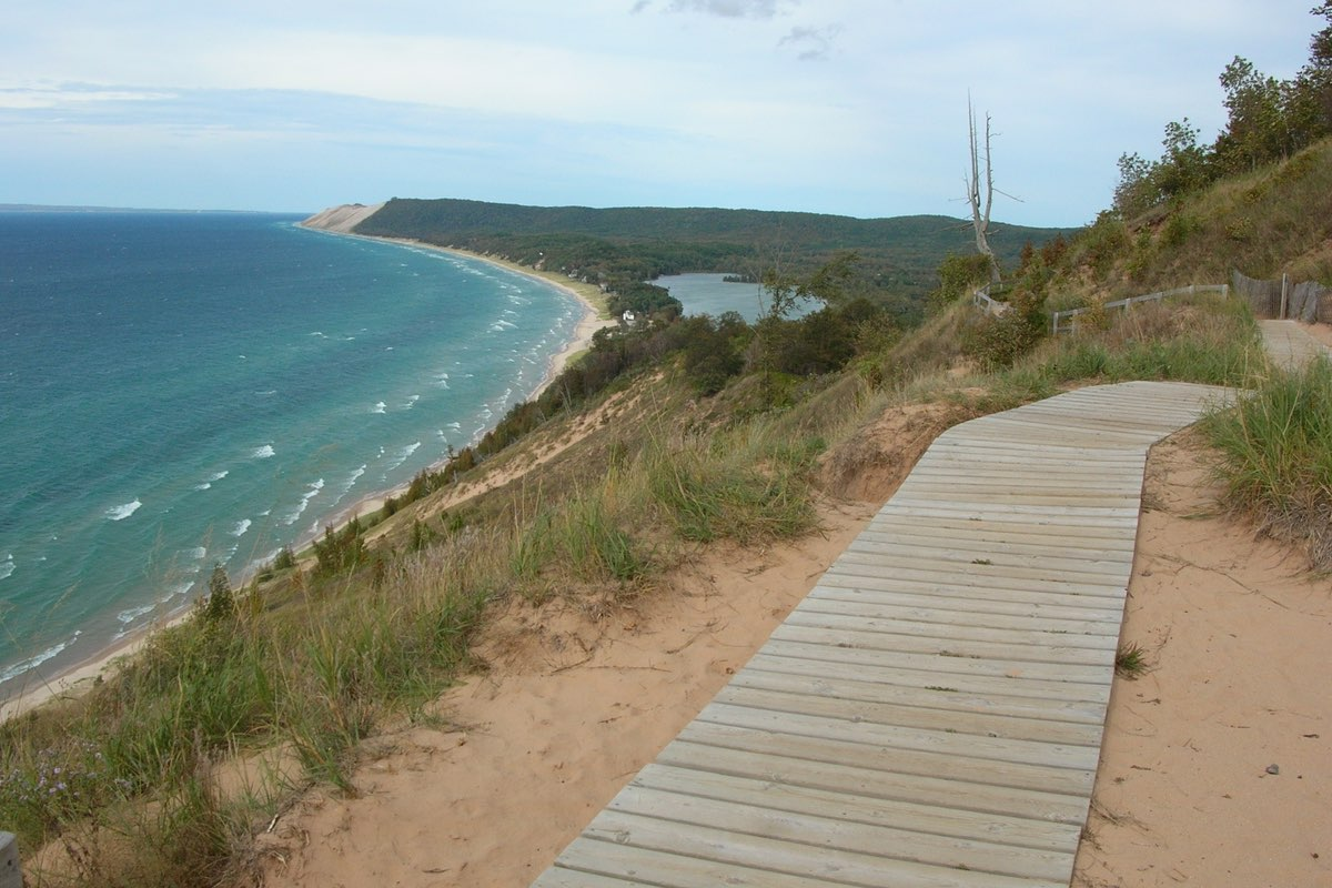 Lake Michigan from the Empire Bluffs Trail in Sleeping Bear Dunes National Lakeshore in Michigan.