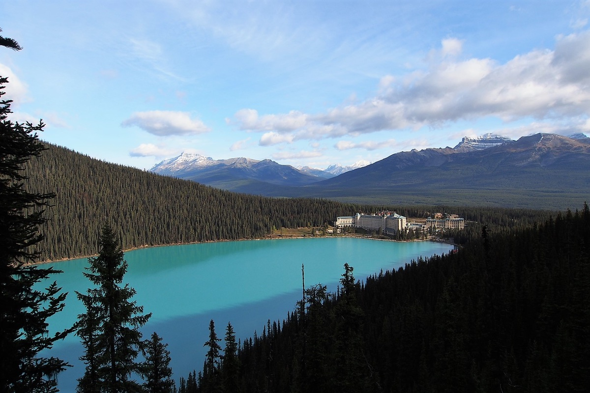 Hiking to the Fairview Lookout in Banff National Park.