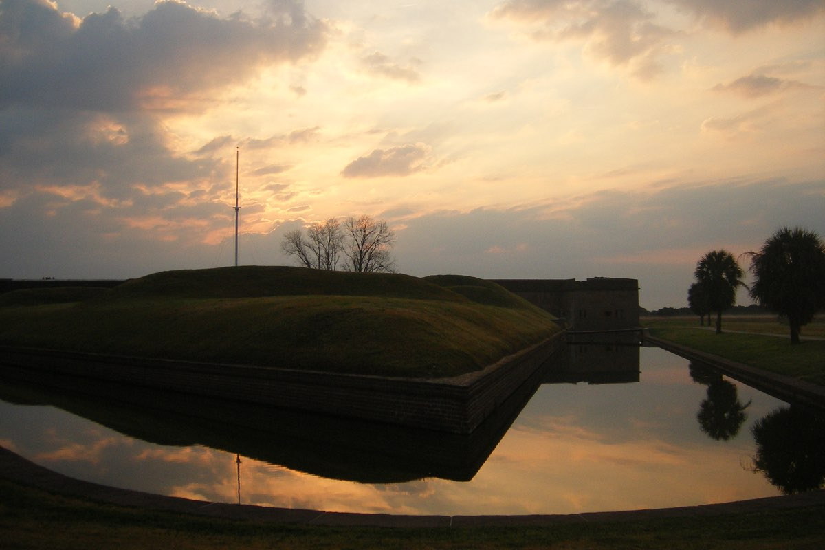 Sunrise over Fort Pulaski National Monument.