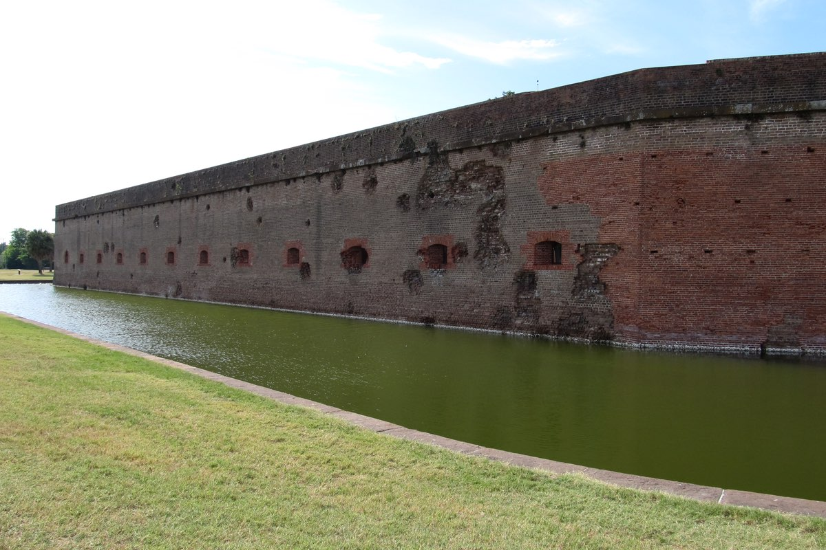 Fort Pulaski wall with war scars.