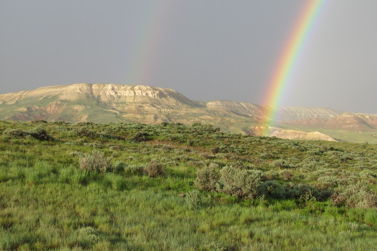 Double rainbow in Fossil Butte National Monument, Wyoming.