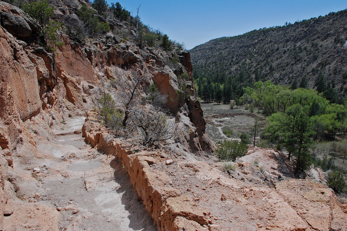 Tyuonyi Village from the Frey Trail in Bandelier National Monument.