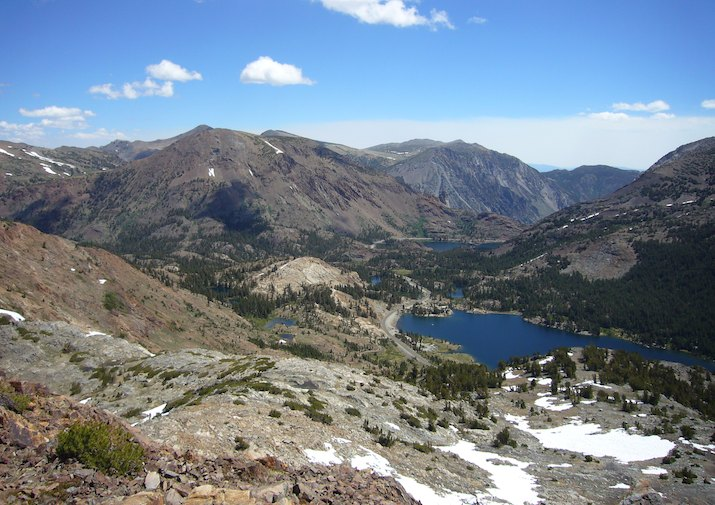 High alpine Gaylor Lake in Yosemite National Park.