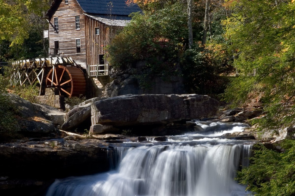 Stunning Glade Creek Grist Mill in Babcock State Park, West Virginia.