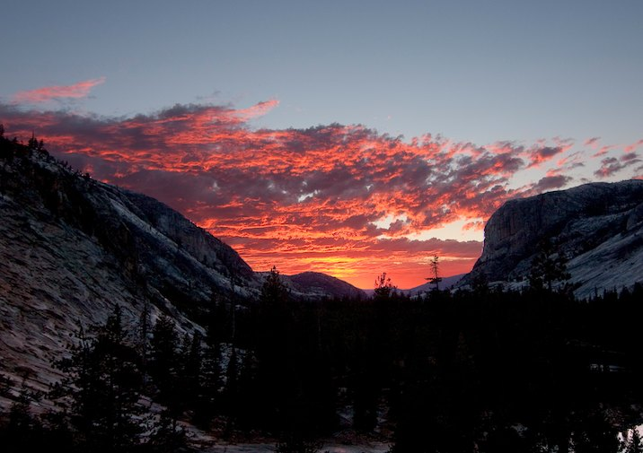 Sunset near Glen Aulin in Yosemite National Park