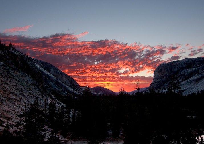 Sunset near Glen Aulin in Yosemite National Park