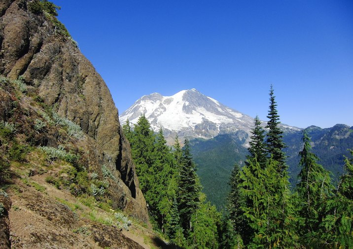 Mount Rainier from Gobbler's Knob Trail in Mount Rainier National Park.