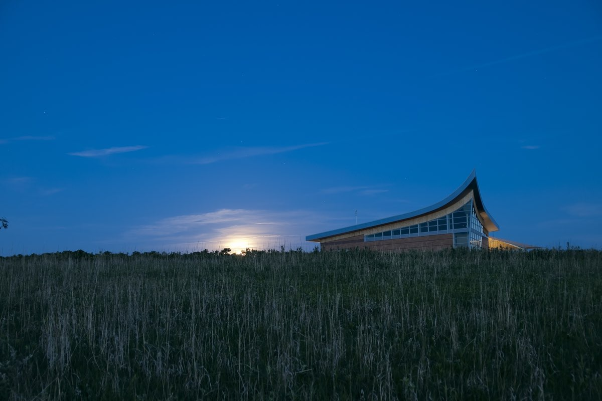 Heritage Center under moonlight in Homestead National Monument, Nebraska.