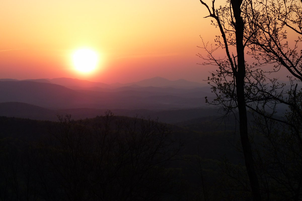 Sunrise along the Hike Inn Trail in Amicalola Falls State Park.