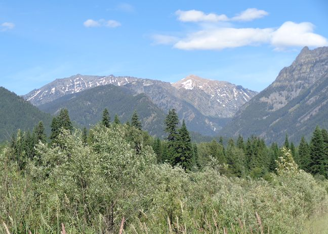 Mountainous view along the Deep Creek Trail in Kootenai NWR.