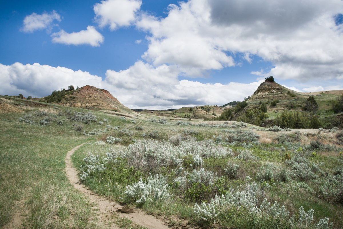 Hiking along the Jones Creek Trail in Theodore Roosevelt National Park.