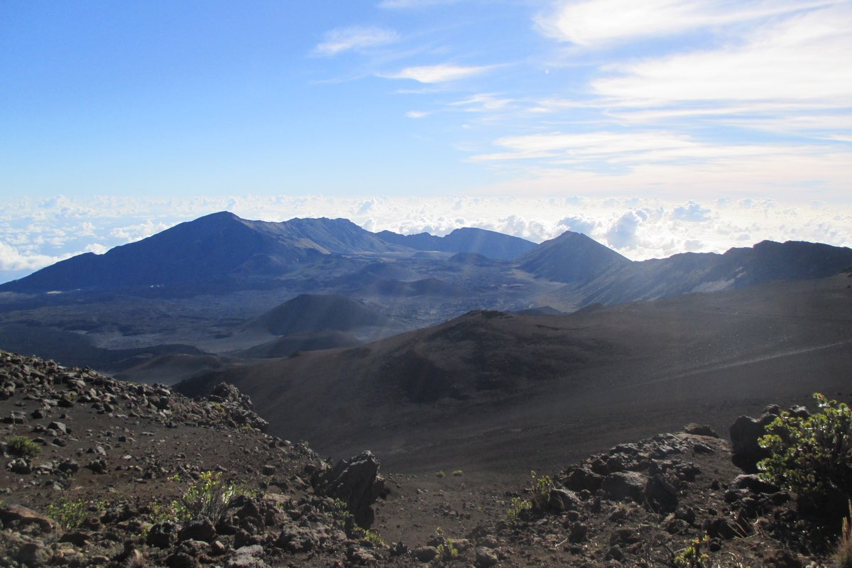 Hiking along the Keonehe'ehe'e Trail in Haleakala National Park.
