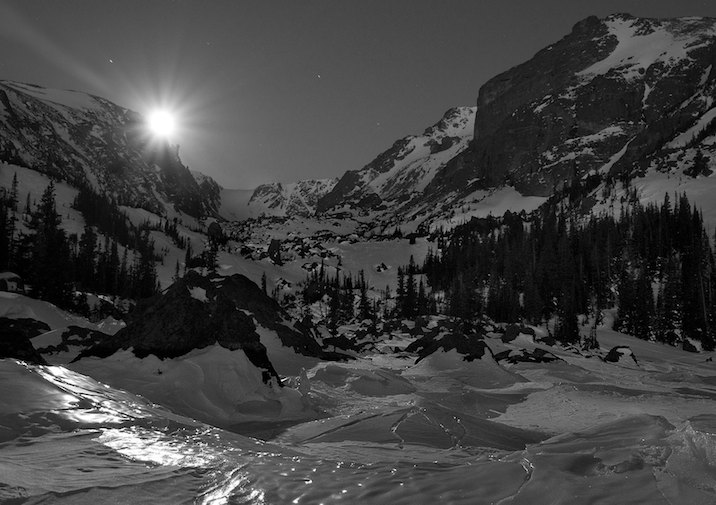 Snowy winter evening at Lake Haiyaha in Rocky Mountain National Park.