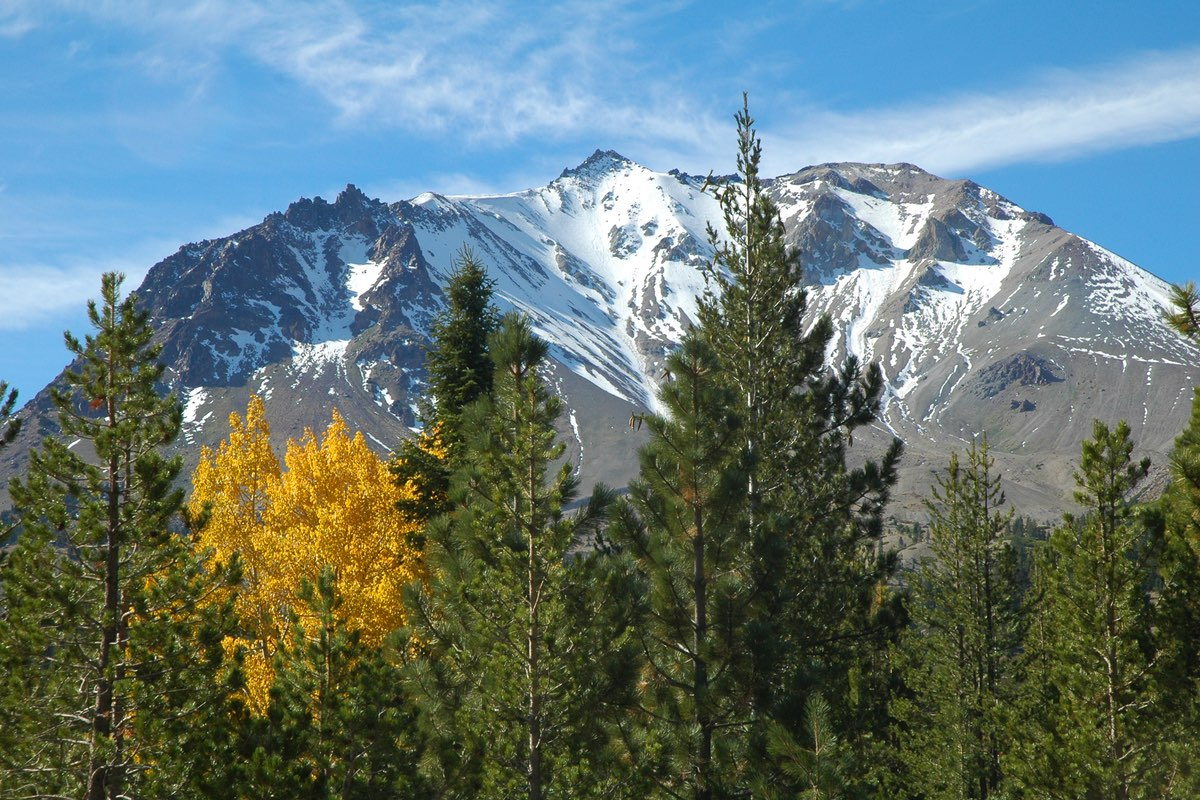 Lassen Peak and Aspens in Lassen Volcanic National Park.