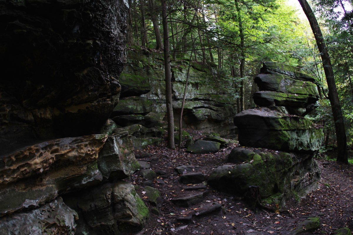 Hiking the Ledges Trail in Cuyahoga Valley National Park.