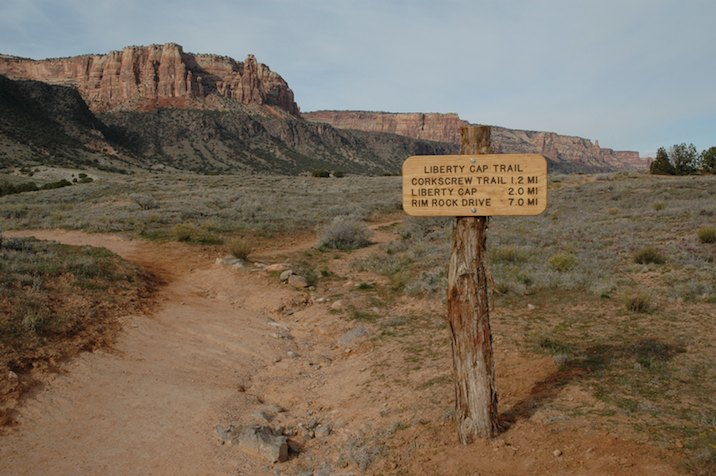 Start of Liberty Cap Trail in Colorado National Monument
