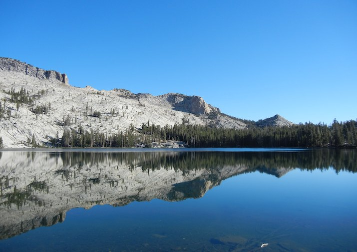 Stunning reflection in May Lake in Yosemite National Park.
