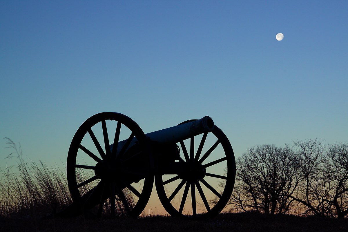 Cannons in the Moonlight at Antietam National Battlefield.